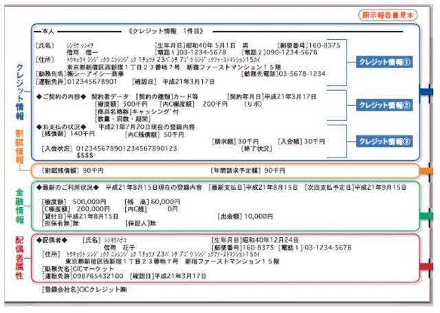 CICの個人情報の見本です。開示請求をして、自分で見ることができます。