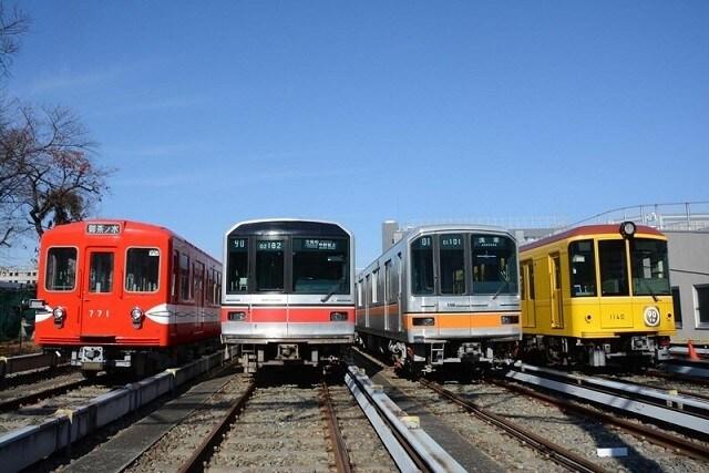 中野車両基地での展示イベント。銀座線の電車は赤坂見附経由で運び込まれた