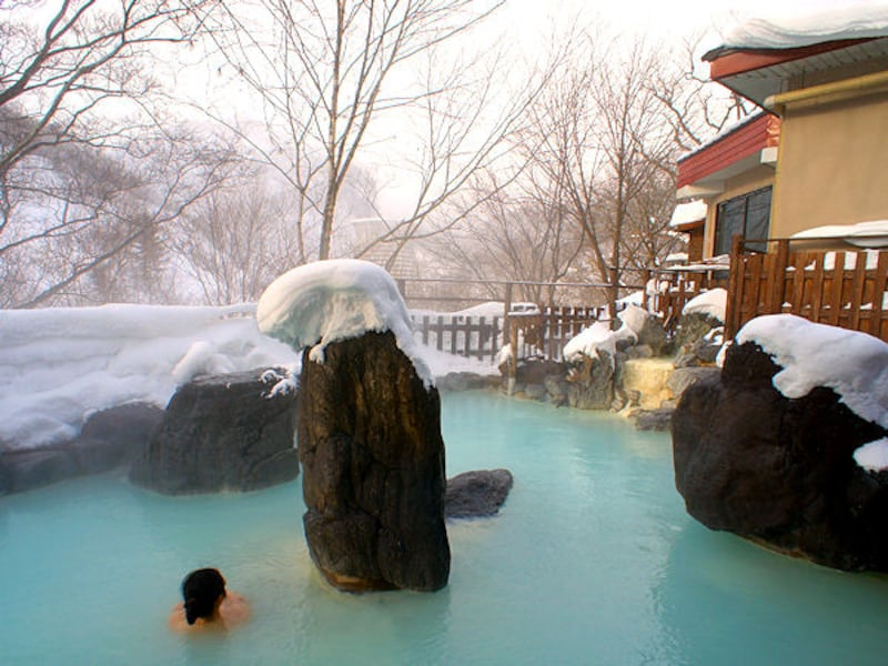 松川温泉「峡雲荘」の雪見露天風呂!