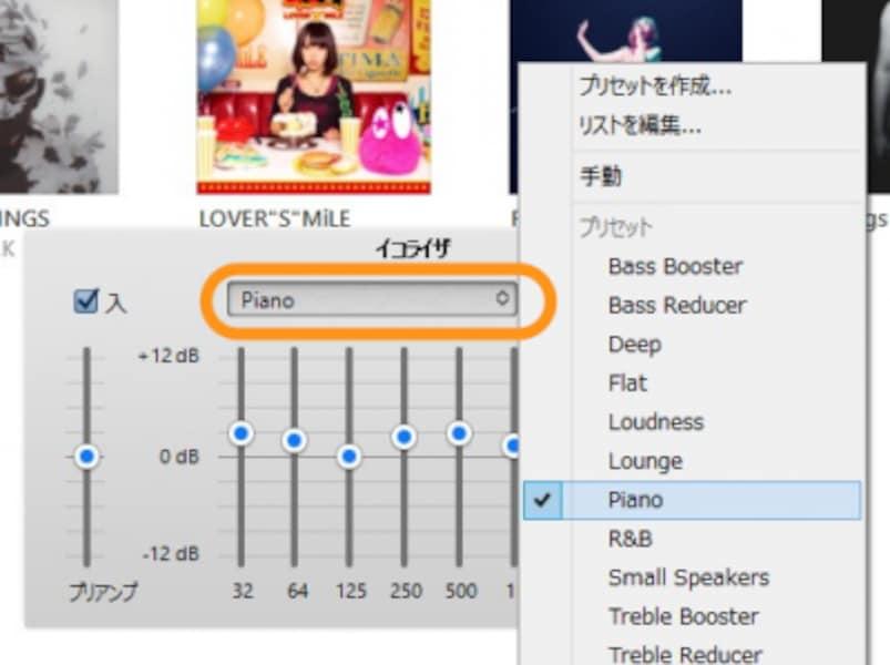 例えば[Piano]を選ぶと、125Hzと1kHz以外を強調する設定になる