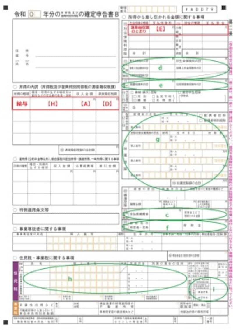 <確定申告書B 第二表>住民税の計算に必要となる情報を記入する