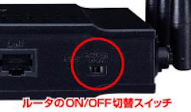 ルータ機能が付いているモデムには、ルータ機能をon/offするためのスイッチがある