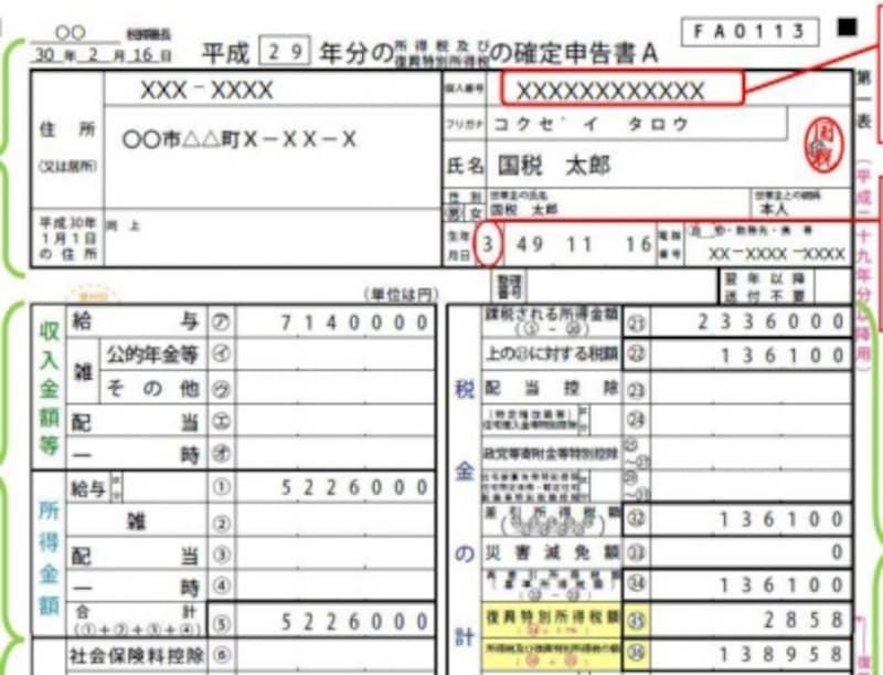 確定申告書住所欄の記載例(出典:国税庁ホームページより)