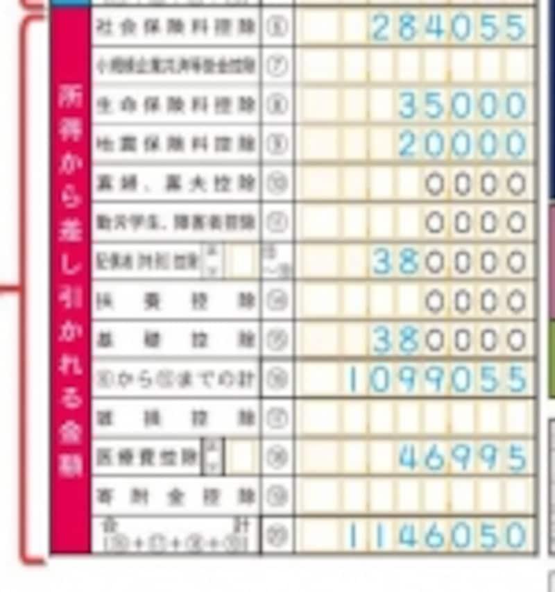 所得控除の結果とりまとめ(出典:国税庁記載例)