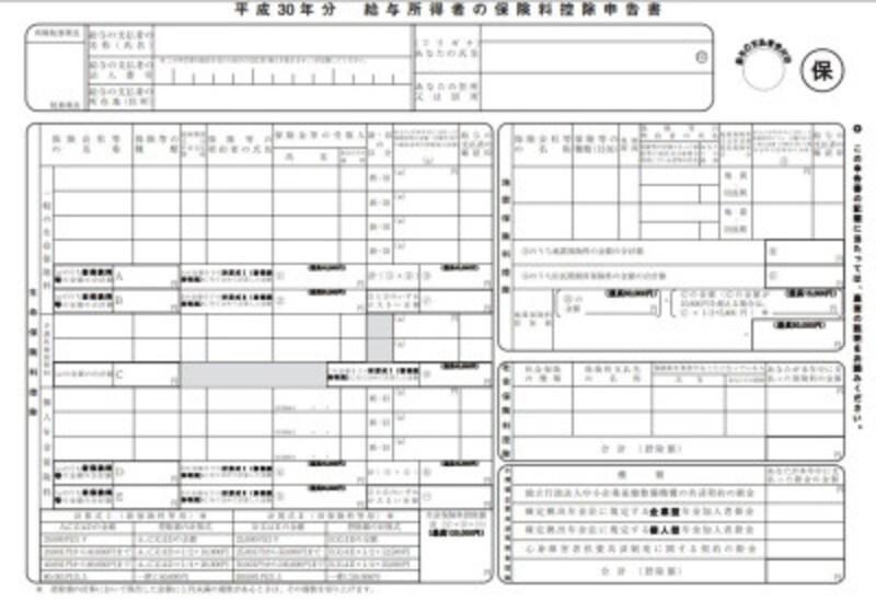 平成30年保険料控除 フォーマット (出典:国税庁)