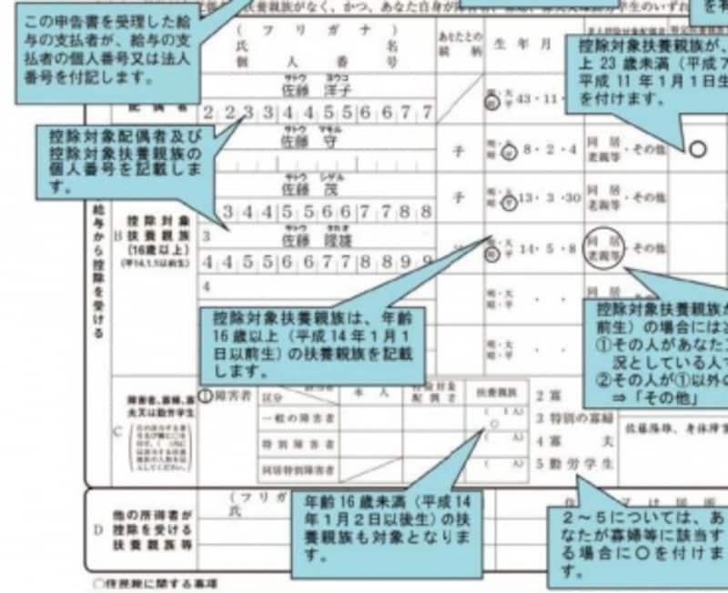 平成29年年末調整対応の記載例。○印を付す付さないだけの記載内容もあります(出典:国税庁)