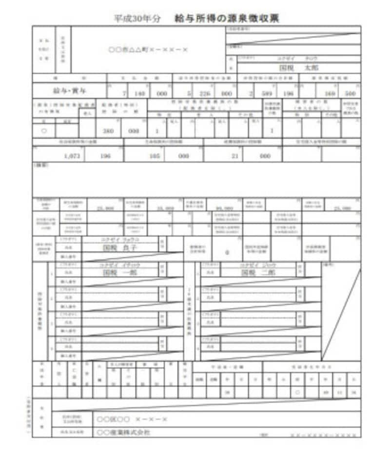 平成30年雑損控除適用前の源泉徴収票記載例 (出典:国税庁 資料より)