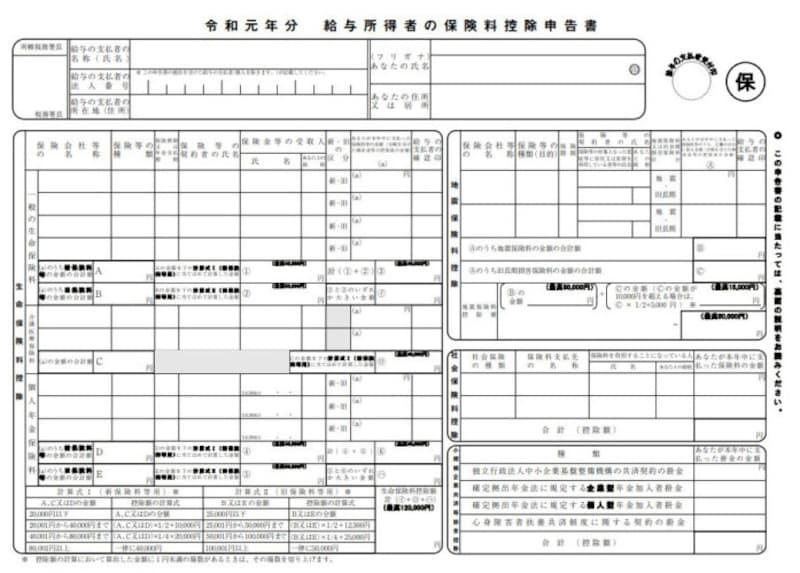 令和元年分 保険料控除申告書 フォーマット (出典:国税庁資料より)