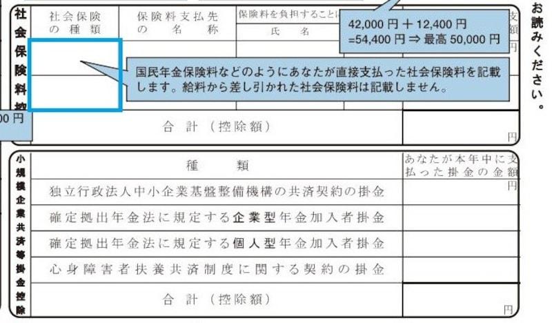 社会保険料控除記載例 抜粋 (出典:国税庁 資料より)