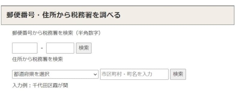 郵便番号・住所から税務署を調べる入力画面 (出典:国税庁ホームページより)