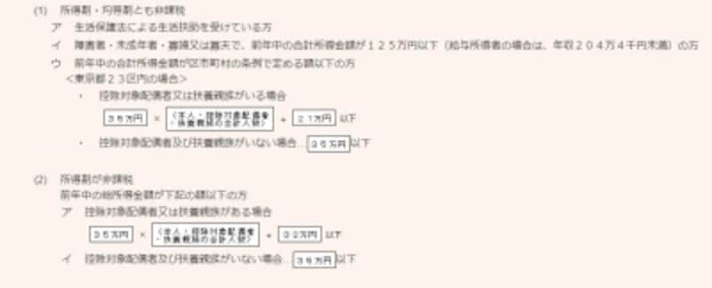 東京都の場合の住民税非課税の規定(出典:東京都主税局)