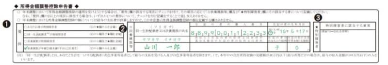 年末調整時における所得金額調整控除の記載例 (出典:国税庁 資料より)