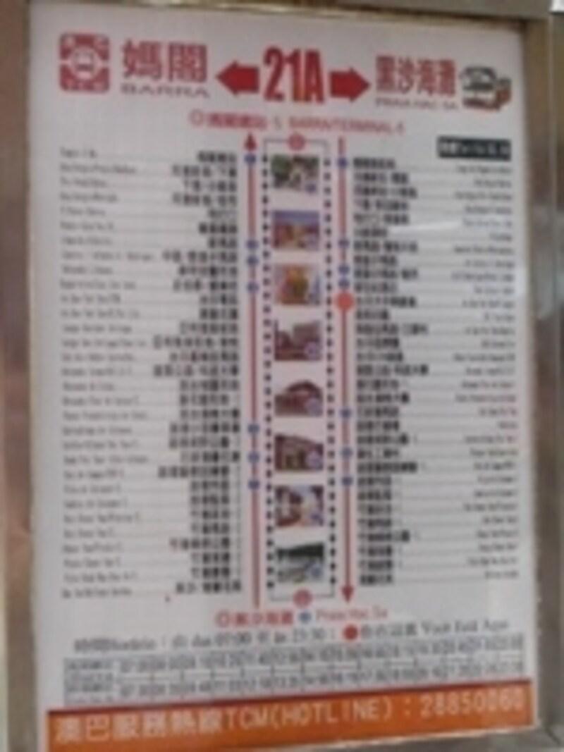 バス停にあるルート案内(時刻表)