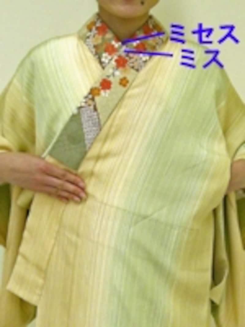 襟元と衣紋はつながっているため、両方の様子を見ながらバランスよく調整する