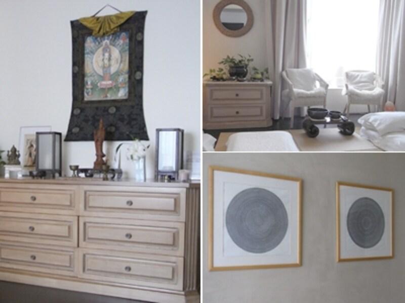 左:アメリカ時代のチェストの上には、チベットの壁掛けや仏像を飾るコーナー。右上:窓際の椅子もアメリカ時代のもの 右下:細かい模様で書かれた曼荼羅。千種さんが書いたそう