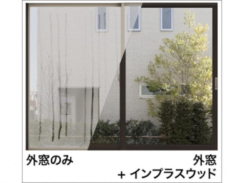 既存の窓と内窓、その間に生まれる新しい空気層が室外と室内をしっかり隔てる構造に。断熱効果で外気温の影響を受けにくく、結露の発生を抑える。[インプラスウッド(説明)undefinedインプラスウッド取付け前後の結露比較]undefinedLIXILundefinedhttp://www.lixil.co.jp/