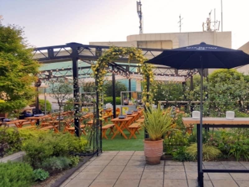 緑に囲まれたヴィラ型屋上ガーデン。メインフロアは芝生席になっています(画像提供:横浜ルミネ)