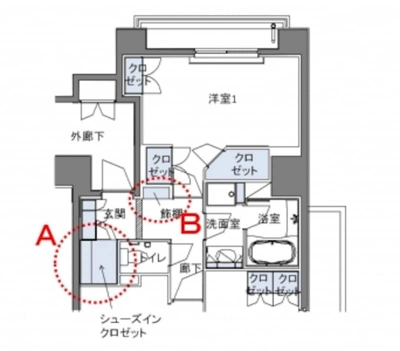 【図2】玄関まわりの拡大図。玄関には下足入れとシューズインクローゼットがある