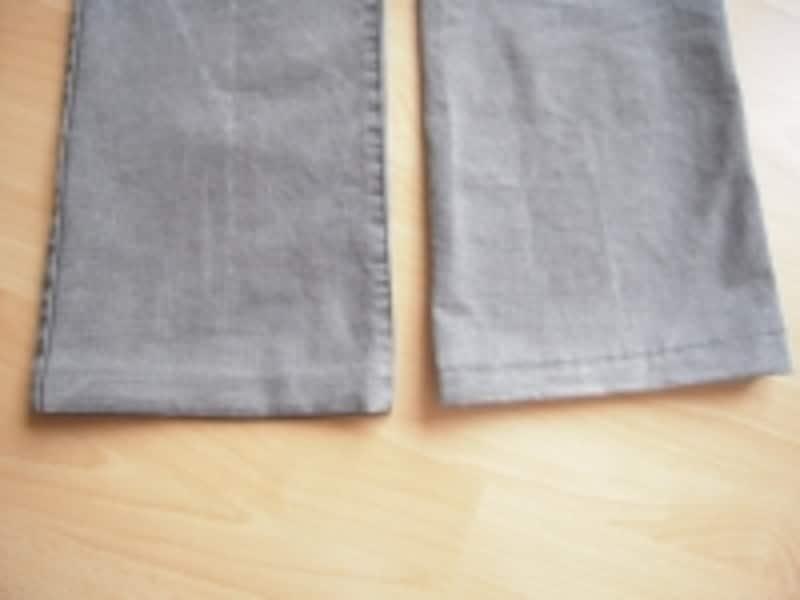 ミシンで縫った方は、ステッチが表に出るので、カジュアルなズボン向き