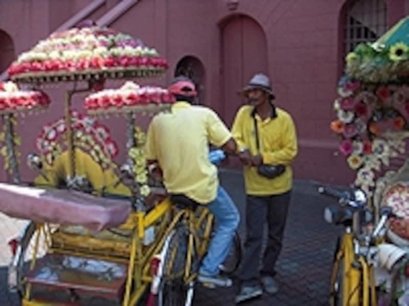 トライショーと呼ばれる人力三輪車は、マラッカの名物
