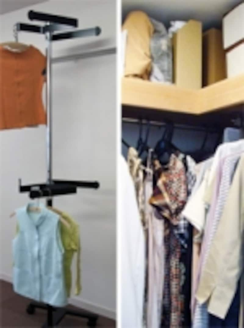 """<ahref=""""http://www.cataloghouse.co.jp/living/clothes/1102515.html"""">フロンテアundefined回転ハンガー「森の服」</a>がコーナー部にあればデッドスペースがゼロに"""