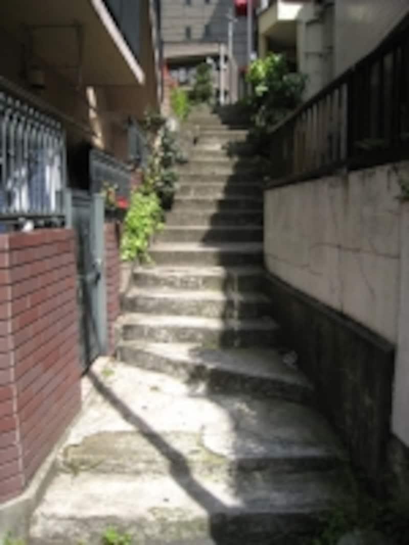 坂を下ったエリアの住宅は規模が小さいものが多く、築年数の建った建物も目立った
