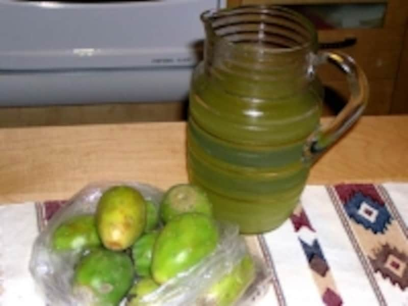 ウチワサボテンの実=トゥナもメキシコを代表するフルーツで、ジュースでも人気。洋梨のような優しい味