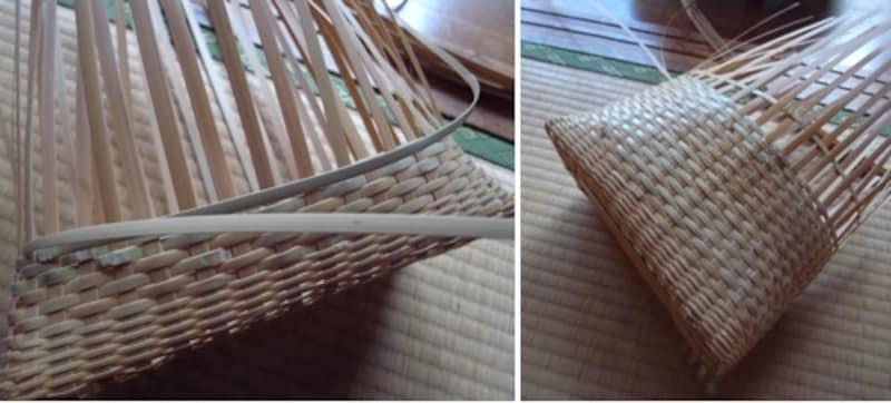 太いひごで、胴の部分を編みます。