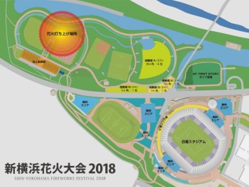 新横浜花火大会2018会場図(画像提供:新横浜花火大会事務局)