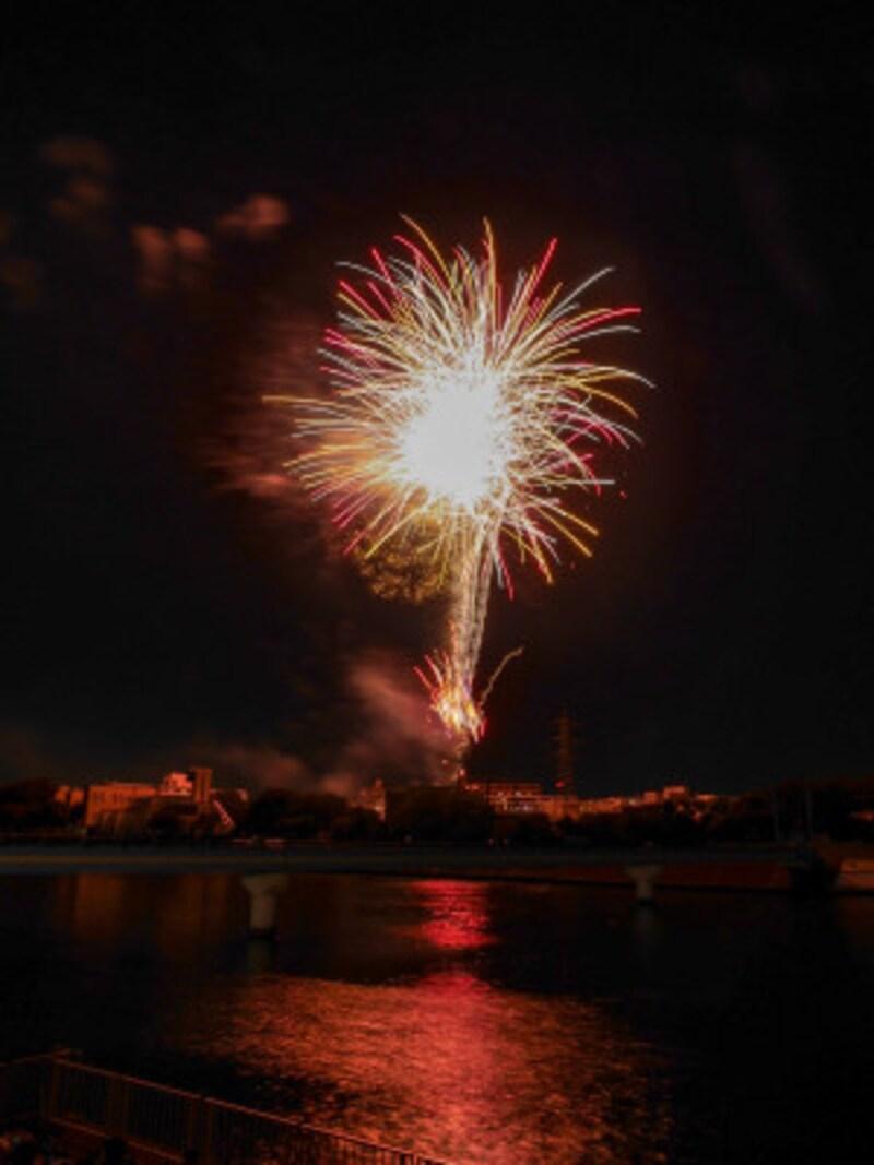 2018年の「鶴見川サマーフェスティバル」花火の様子。河川敷より手持ちで撮影(2018年8月18日撮影)