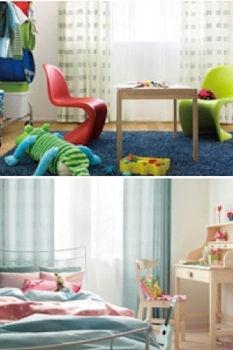 上:元気のいい子供部屋にブライトカラーを使って。ラグとカーテンの柄にブルーを。下:優しげな部屋にライトカラーを使って。カーテンとベッドリネンにはお揃いのブルーを。(画像:リリカラ)