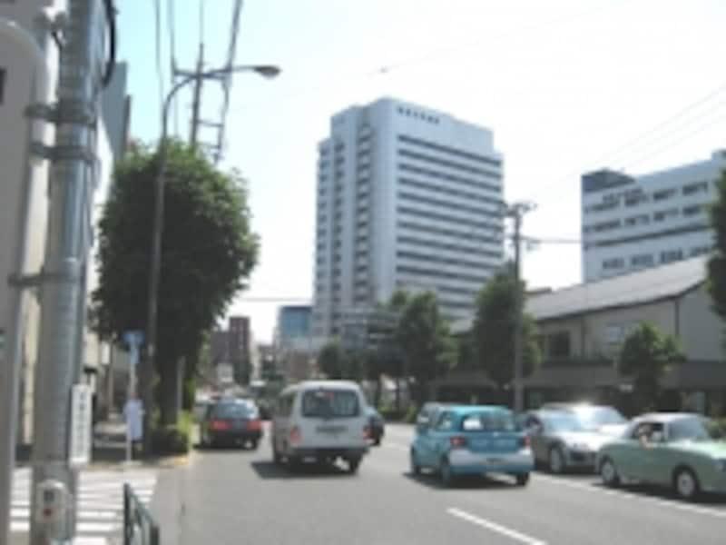 中原街道沿い、ひときわ目立つのが昭和大学病院。正面に見えている建物の背後に大学のキャンパスなどが広がっている