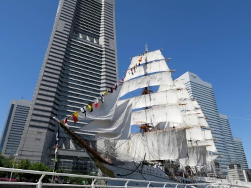 2017年に国の重要文化財に指定された帆船日本丸。29枚の帆をすべて広げる総帆展帆と国際信号機を船首から船尾まで飾り付ける満船飾のようす(2016年4月29日撮影)