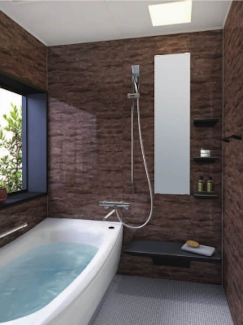 バスタブと洗い場の間に設置する、バス・シャワー兼用水栓(サーモスタット)を取り入れたプラン。[サザナ]undefinedTOTOundefinedhttp://www.toto.co.jp/