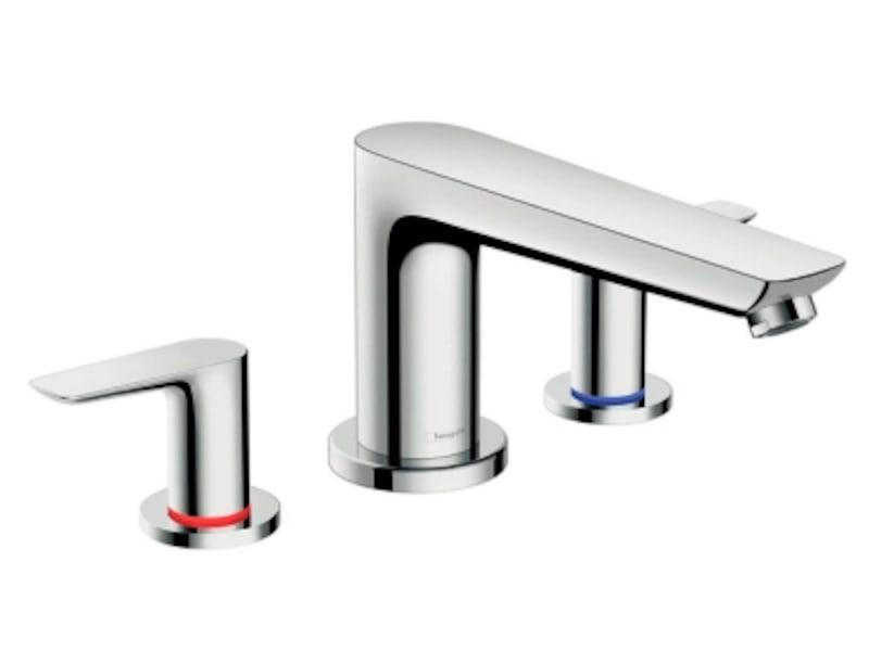さまざまな浴室空間にも馴染むすっきりとしたモダンなデザイン。[HG71747undefined3ホールバス用湯水混合栓カバー部(デッキタイプ)]undefinedセラトレーディングundefinedhttp://www.cera.co.jp/