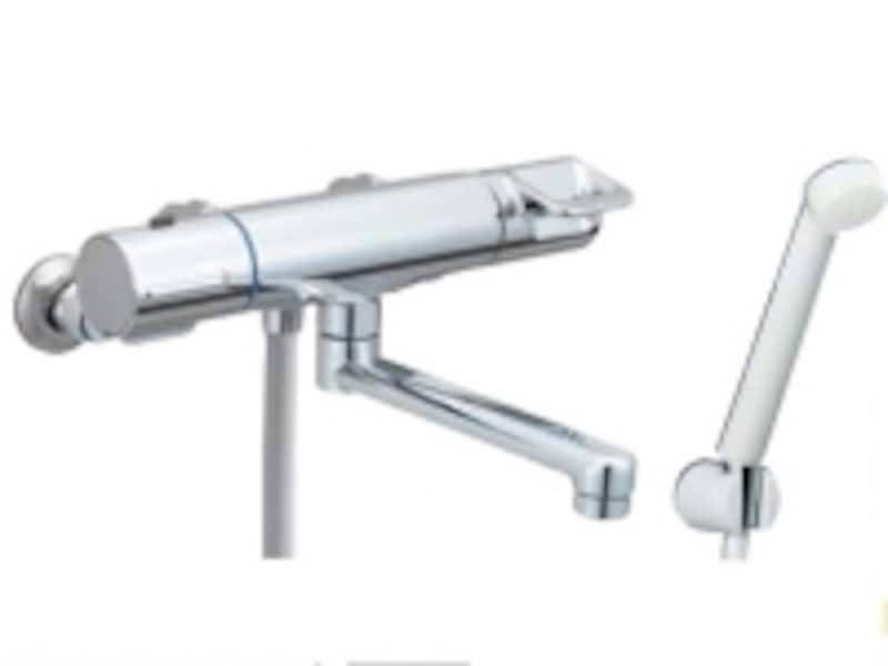 吐水口が長い兼用水栓。さまざまなシャワーヘッドと組み合わせることが可能。[浴槽・洗い場兼用undefinedサーモスタット付シャワーバス水栓undefinedクロマーレ]