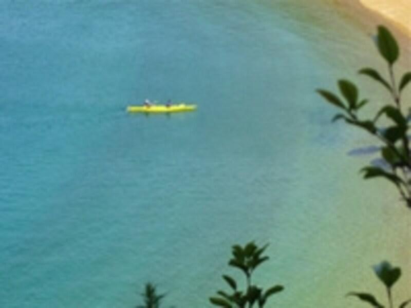 カヤックで青い海を進む