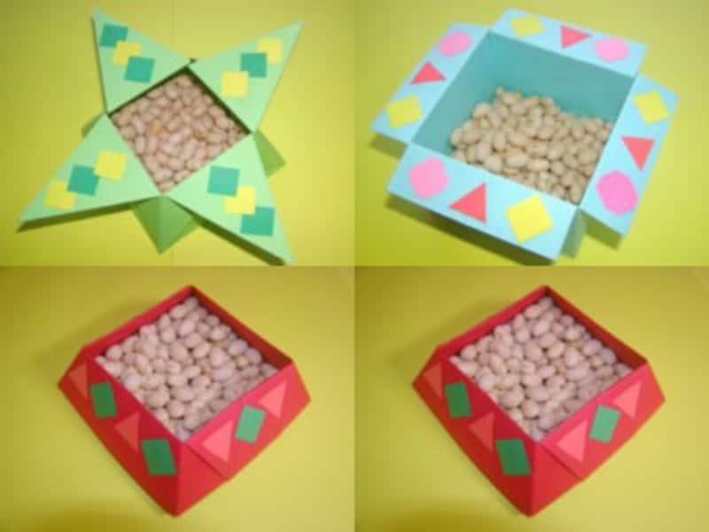節分の豆入れを折り紙や画用紙で製作
