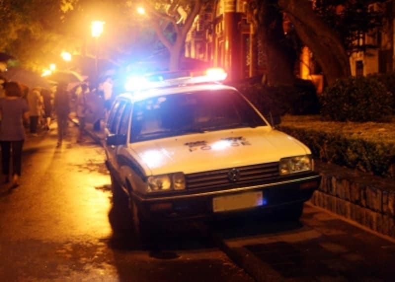 警察の見回りが頻繁に行なわれる中国の都市部