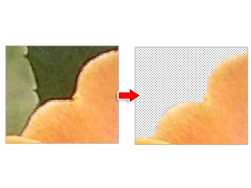 拡大表示で実際の輪郭よりも少し内側を選択すると、貼り付けたときに輪郭が目立たない
