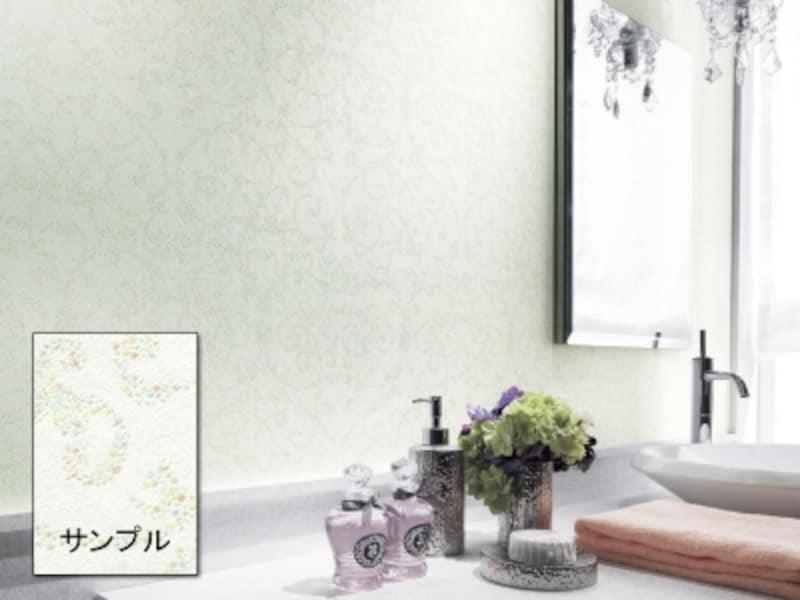 壁紙リフォーム・クロス張替えで、洗面所に柄物を使う時は、小物を含めた色数に注意(サンゲツ)