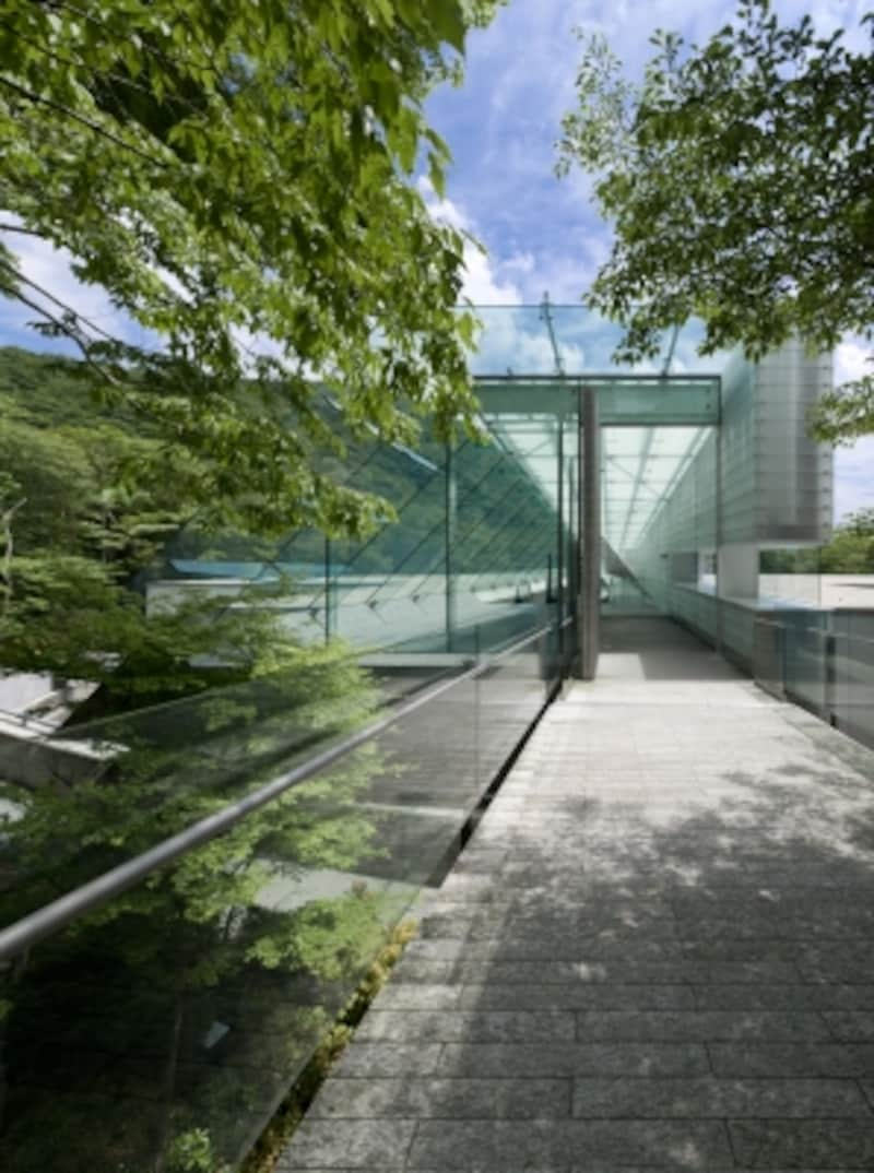 ガラス越しに箱根も式を堪能できるエントランス
