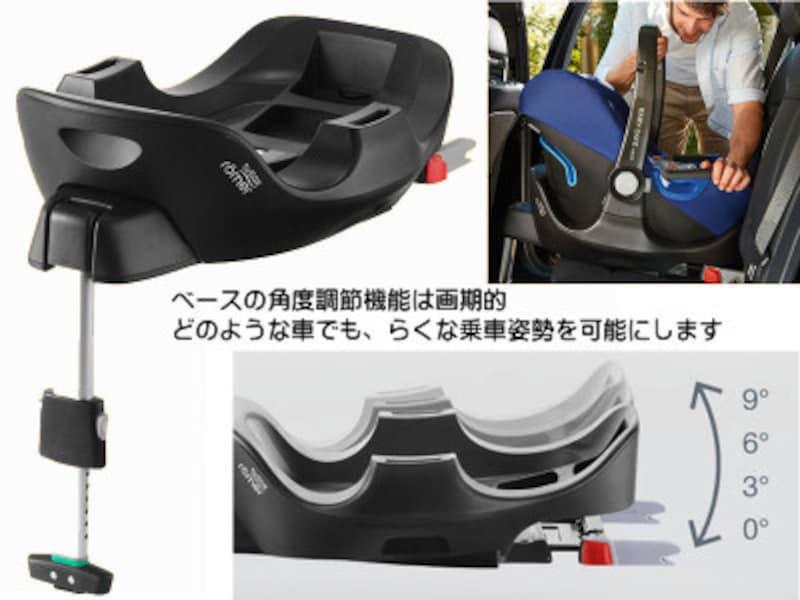 角度調節機能付のISOFIXベースは実用的。車の座面傾斜にかかわらず快適な姿勢を可能にします