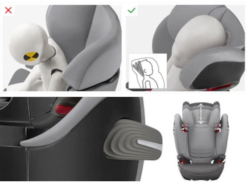 独自の頭部リクライニング、側面衝突の衝撃を吸収するバーなど斬新な工夫