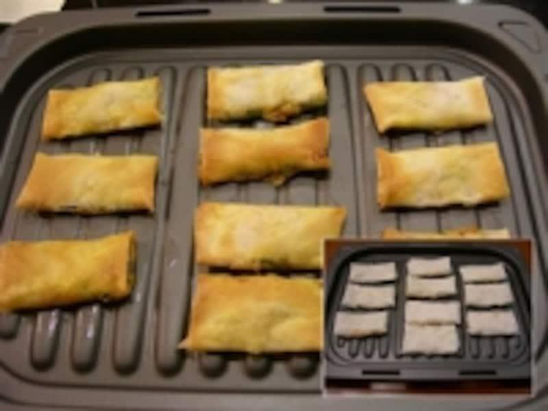 冷凍した春巻きをそのままオープン皿に並べて焼くだけ。おいしくパリッと焼きあがった(右下が焼く前)