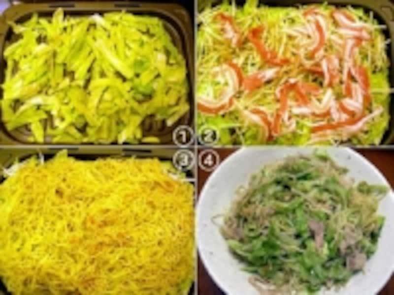 グリル皿に番号の通り、野菜→肉→焼きそばの順に重ねて、オートメニューで焼くだけ