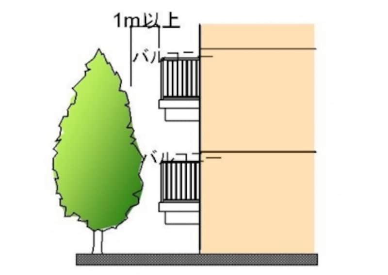 バルコニーと植栽が近いとドロボウの足がかりになり、低層階は特に危険。1メートル以上離れているか確認を