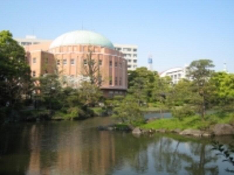 かつては隅田川の水を引き込んでいたという池を中心に散策が楽しめる旧安田庭園