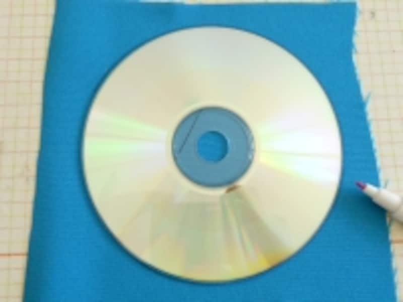 型には、CDやお皿、コップなどを利用。作りたいヨーヨーの直系の2倍を目安に
