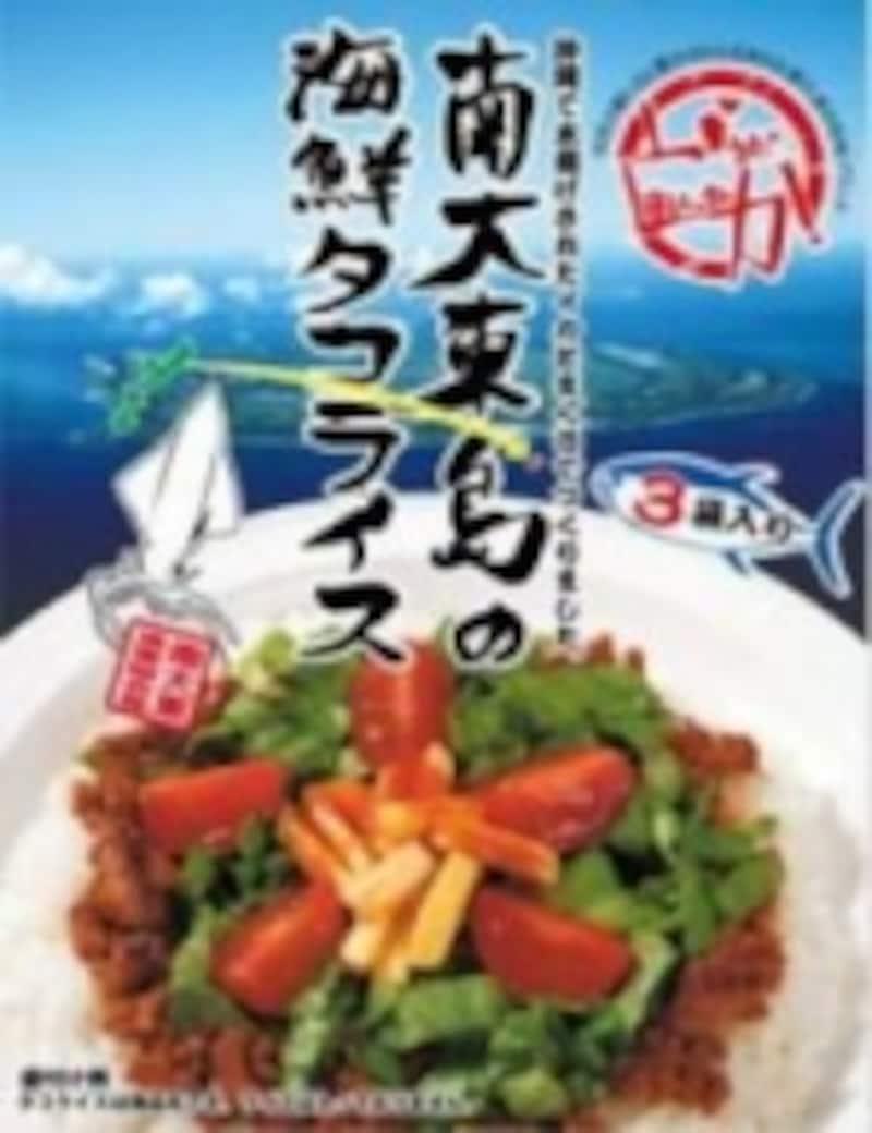 海鮮タコライス。ピリっと辛いタコライスの風味そのままに、マグロやイカの食感がご飯とマッチしています